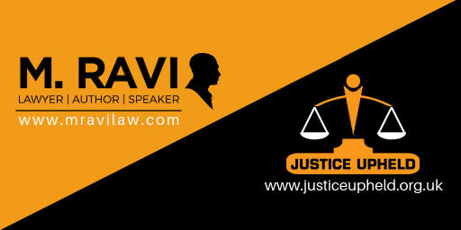 M Ravi appointed as an honorary International Human Rights Legal Adviser to the panel of Justice Upheld in the UK