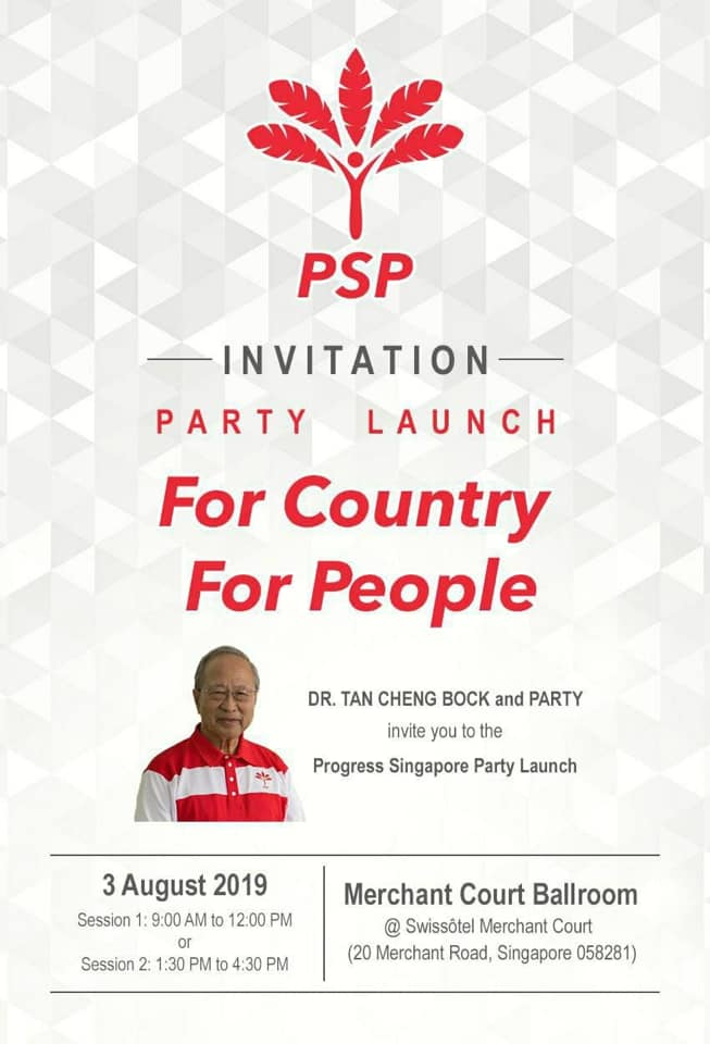 Invitation to launch of Progress Singapore Party on...