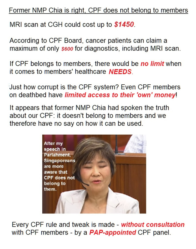 Former NMP Chia is right, CPF does not belong to members